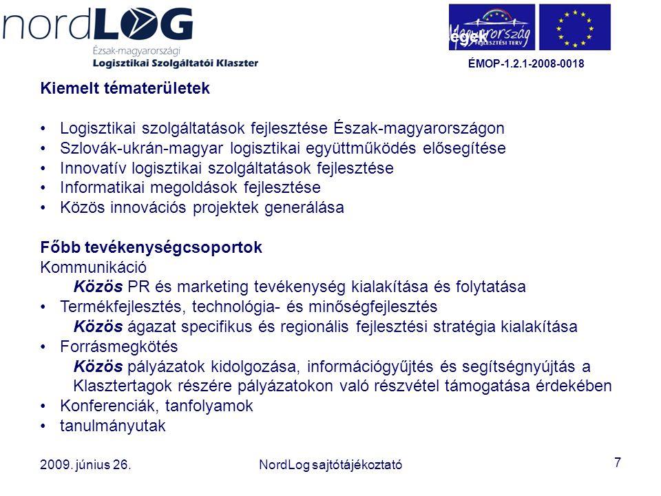 7 2008. október 15. Az Észak-magyarországi Logisztikai Szolgáltatói Klaszter létrehozása 2009. június 26.NordLog sajtótájékoztató ÉMOP-1.2.1-2008-0018