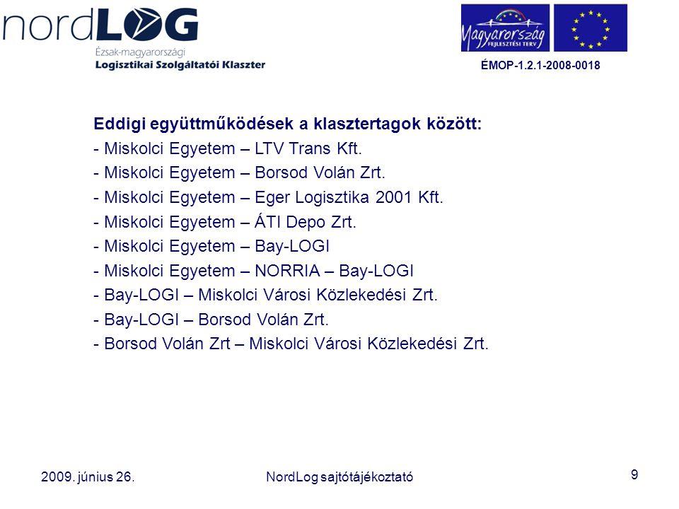 9 2008. október 15. Az Észak-magyarországi Logisztikai Szolgáltatói Klaszter létrehozása 2009. június 26.NordLog sajtótájékoztató ÉMOP-1.2.1-2008-0018