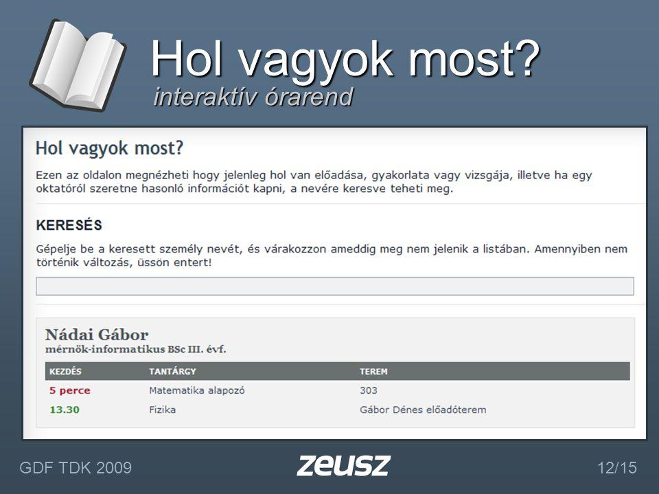 interaktív órarend Hol vagyok most? GDF TDK 2009 12/15