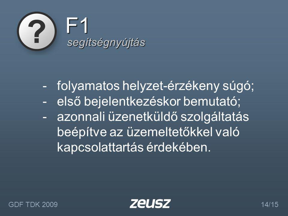 segítségnyújtás F1 GDF TDK 2009 14/15 -folyamatos helyzet-érzékeny súgó; -első bejelentkezéskor bemutató; -azonnali üzenetküldő szolgáltatás beépítve az üzemeltetőkkel való kapcsolattartás érdekében.