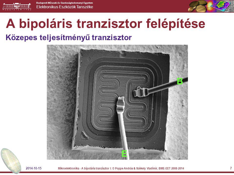 Budapesti Műszaki és Gazdaságtudomanyi Egyetem Elektronikus Eszközök Tanszéke 2014-10-15 Mikroelektronika - A bipoláris tranzisztor I.