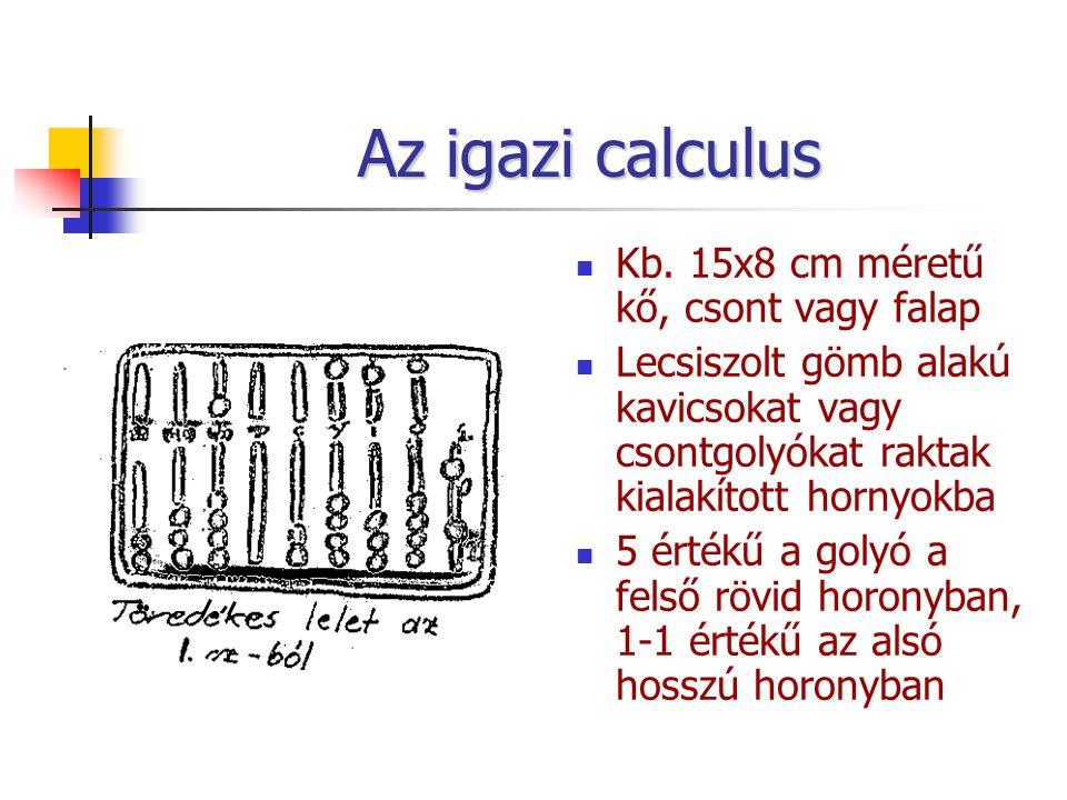 Az igazi calculus Kb. 15x8 cm méretű kő, csont vagy falap Lecsiszolt gömb alakú kavicsokat vagy csontgolyókat raktak kialakított hornyokba 5 értékű a