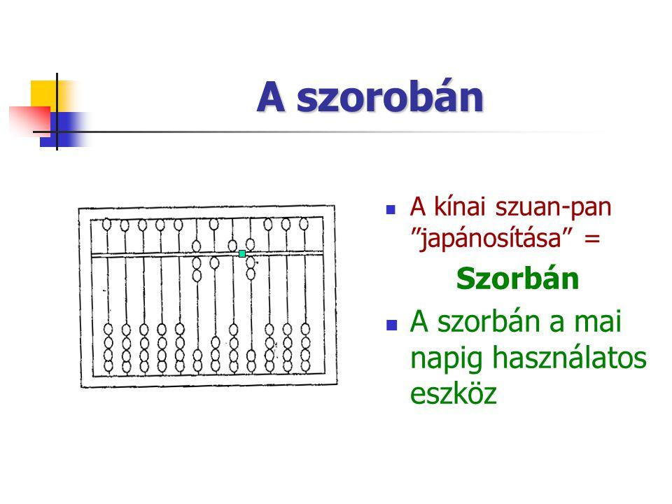 A szorobán A kínai szuan-pan japánosítása = Szorbán A szorbán a mai napig használatos eszköz