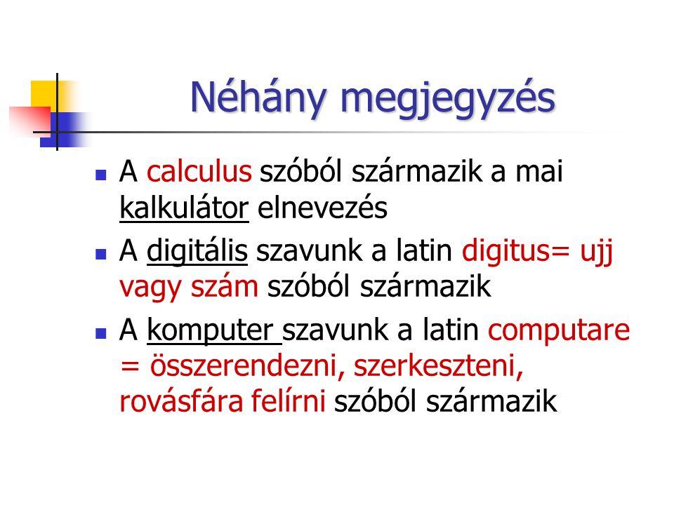 Néhány megjegyzés A calculus szóból származik a mai kalkulátor elnevezés A digitális szavunk a latin digitus= ujj vagy szám szóból származik A komputer szavunk a latin computare = összerendezni, szerkeszteni, rovásfára felírni szóból származik
