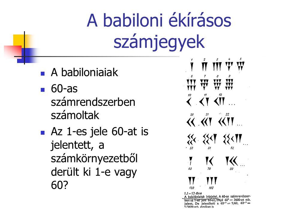 A babiloni ékírásos számjegyek A babiloniaiak 60-as számrendszerben számoltak Az 1-es jele 60-at is jelentett, a számkörnyezetből derült ki 1-e vagy 6