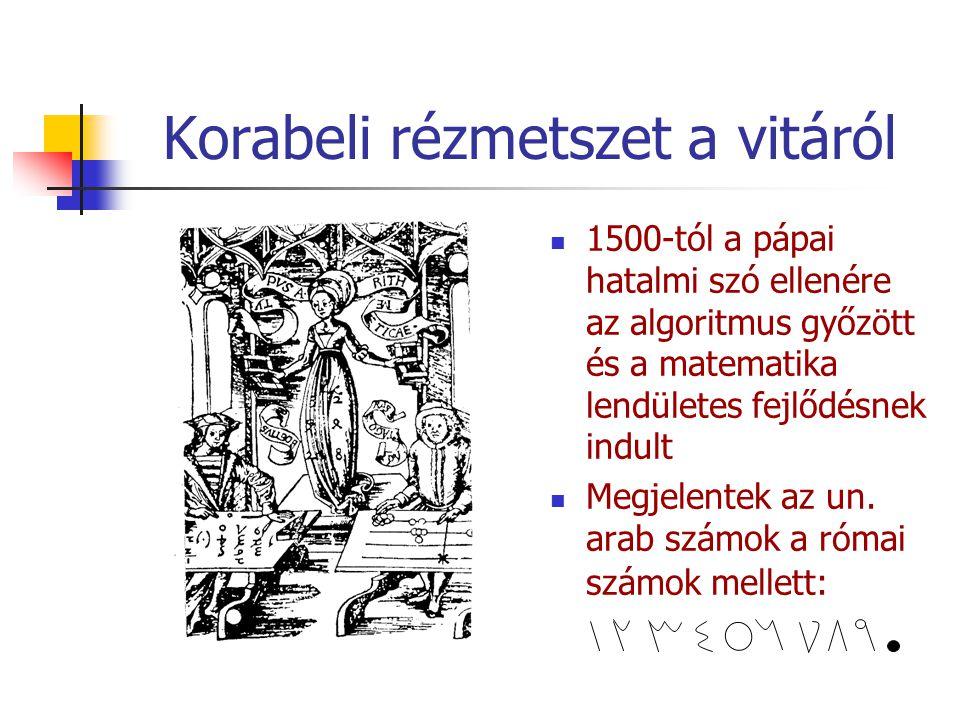 Korabeli rézmetszet a vitáról 1500-tól a pápai hatalmi szó ellenére az algoritmus győzött és a matematika lendületes fejlődésnek indult Megjelentek az un.