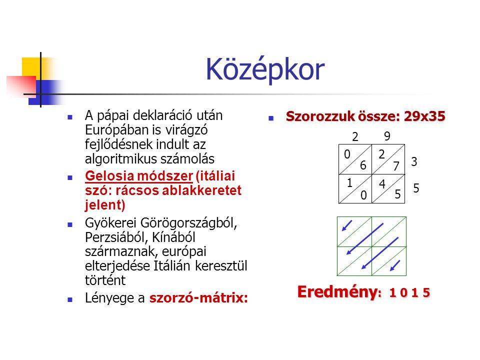 Középkor A pápai deklaráció után Európában is virágzó fejlődésnek indult az algoritmikus számolás Gelosia módszer (itáliai szó: rácsos ablakkeretet jelent) Gyökerei Görögországból, Perzsiából, Kínából származnak, európai elterjedése Itálián keresztül történt Lényege a szorzó-mátrix: Szorozzuk össze: 29x35 Szorozzuk össze: 29x35 9 0 6 1 0 2 7 4 5 2 3 5 Eredmény : 1 0 1 5