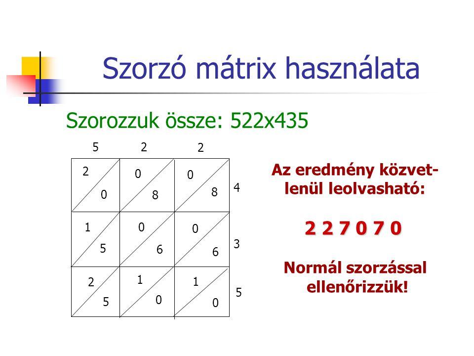 Szorzó mátrix használata Szorozzuk össze: 522x435 2 52 2 4 3 5 0 0 8 0 8 1 5 0 6 0 6 2 5 1 0 1 0 Az eredmény közvet- lenül leolvasható: 2 2 7 0 7 0 Normál szorzással ellenőrizzük!