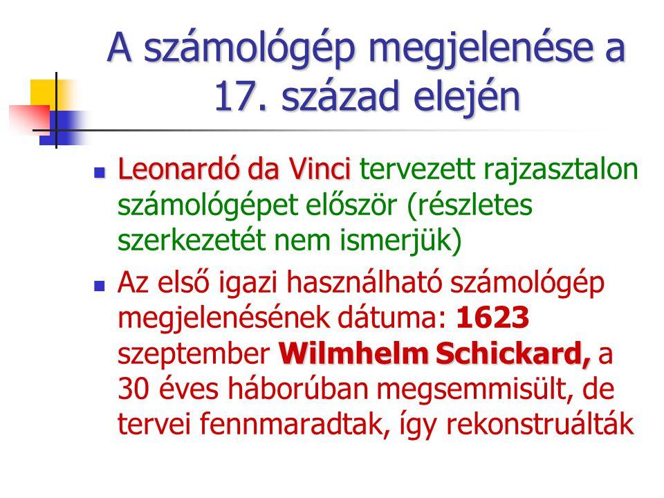 A számológép megjelenése a 17. század elején Leonardó da Vinci Leonardó da Vinci tervezett rajzasztalon számológépet először (részletes szerkezetét ne