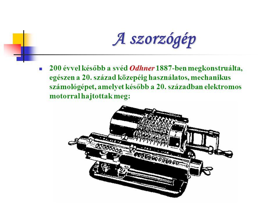 A szorzógép Odhner 200 évvel később a svéd Odhner 1887-ben megkonstruálta, egészen a 20.