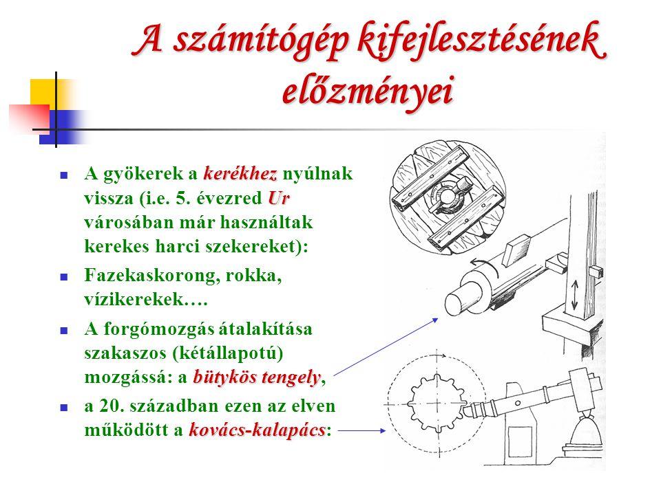 A számítógép kifejlesztésének előzményei kerékhez Ur A gyökerek a kerékhez nyúlnak vissza (i.e. 5. évezred Ur városában már használtak kerekes harci s