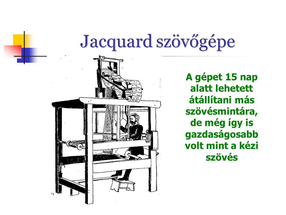 Jacquard szövőgépe A gépet 15 nap alatt lehetett átállítani más szövésmintára, de még így is gazdaságosabb volt mint a kézi szövés