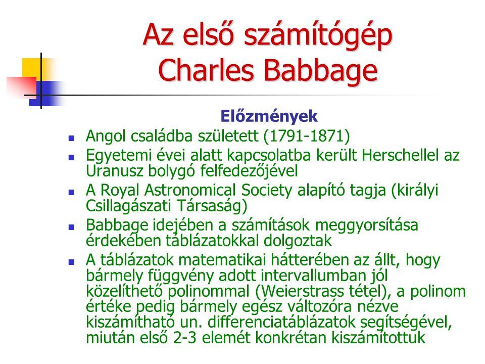Az első számítógép Charles Babbage Előzmények Angol családba született (1791-1871) Egyetemi évei alatt kapcsolatba került Herschellel az Uranusz bolygó felfedezőjével A Royal Astronomical Society alapító tagja (királyi Csillagászati Társaság) Babbage idejében a számítások meggyorsítása érdekében táblázatokkal dolgoztak A táblázatok matematikai hátterében az állt, hogy bármely függvény adott intervallumban jól közelíthető polinommal (Weierstrass tétel), a polinom értéke pedig bármely egész változóra nézve kiszámítható un.