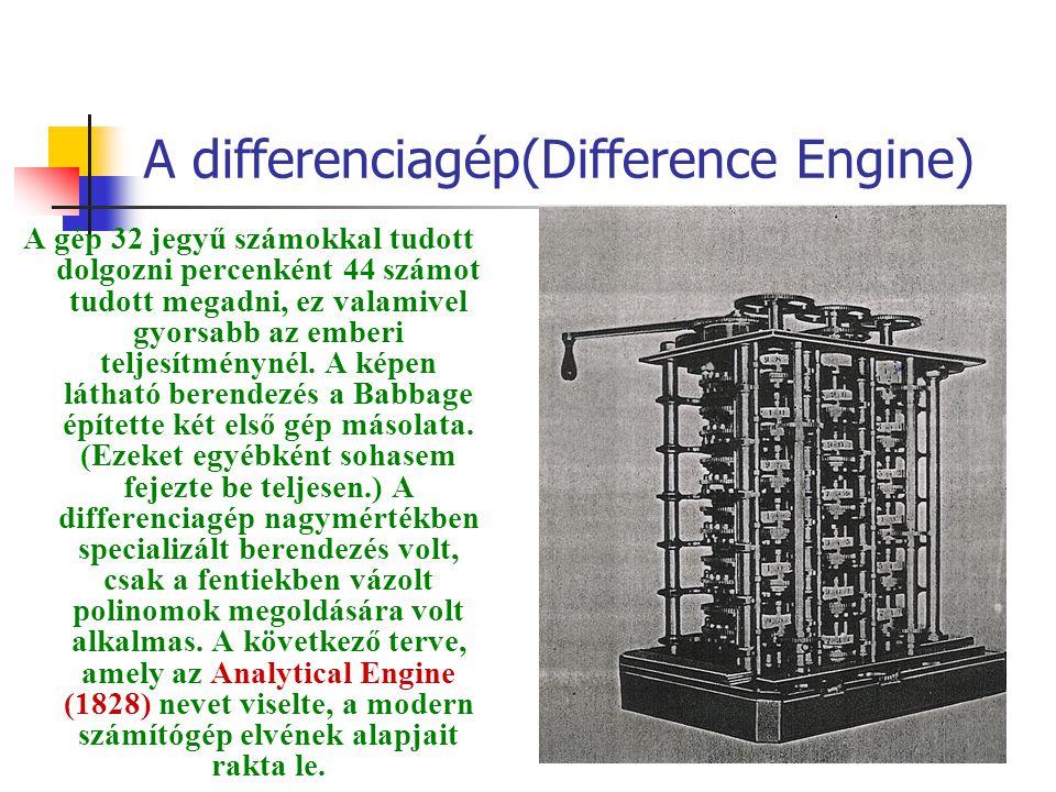 A differenciagép(Difference Engine) A gép 32 jegyű számokkal tudott dolgozni percenként 44 számot tudott megadni, ez valamivel gyorsabb az emberi teljesítménynél.