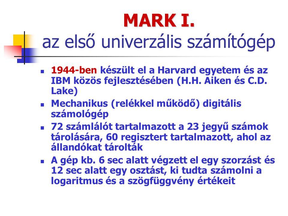 MARK I. MARK I. az első univerzális számítógép 1944-ben készült el a Harvard egyetem és az IBM közös fejlesztésében (H.H. Aiken és C.D. Lake) Mechanik