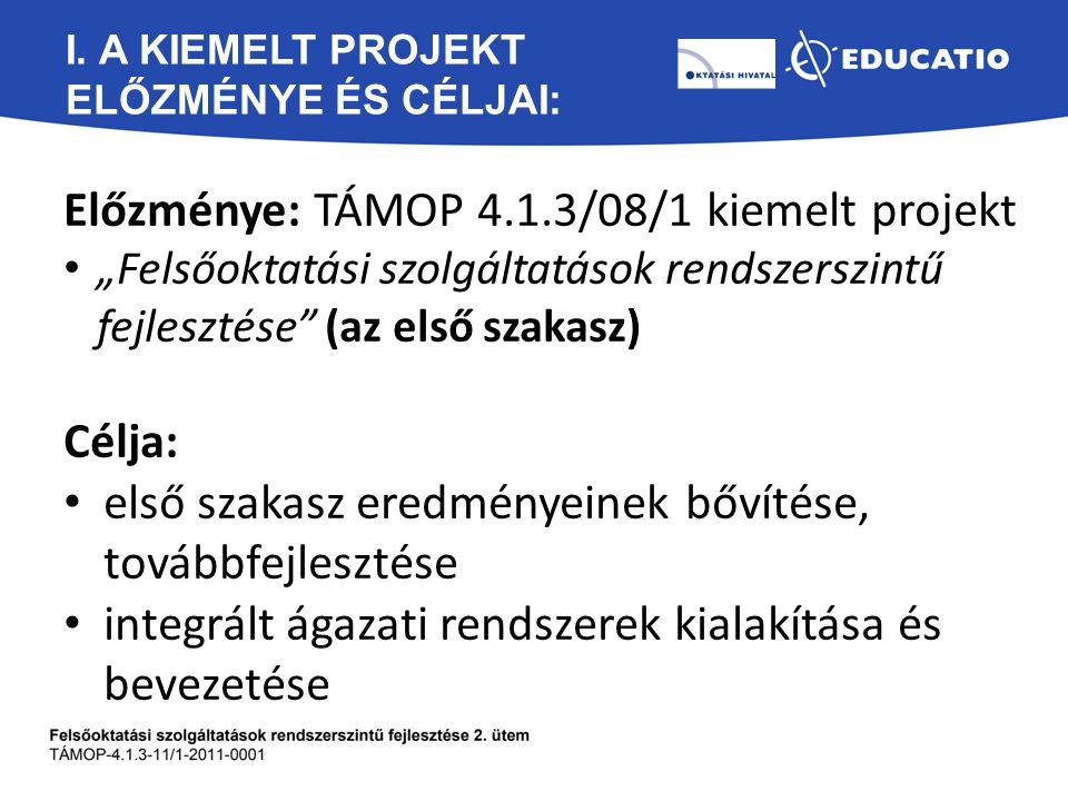 """I. A KIEMELT PROJEKT ELŐZMÉNYE ÉS CÉLJAI: Előzménye: TÁMOP 4.1.3/08/1 kiemelt projekt """"Felsőoktatási szolgáltatások rendszerszintű fejlesztése"""" (az el"""