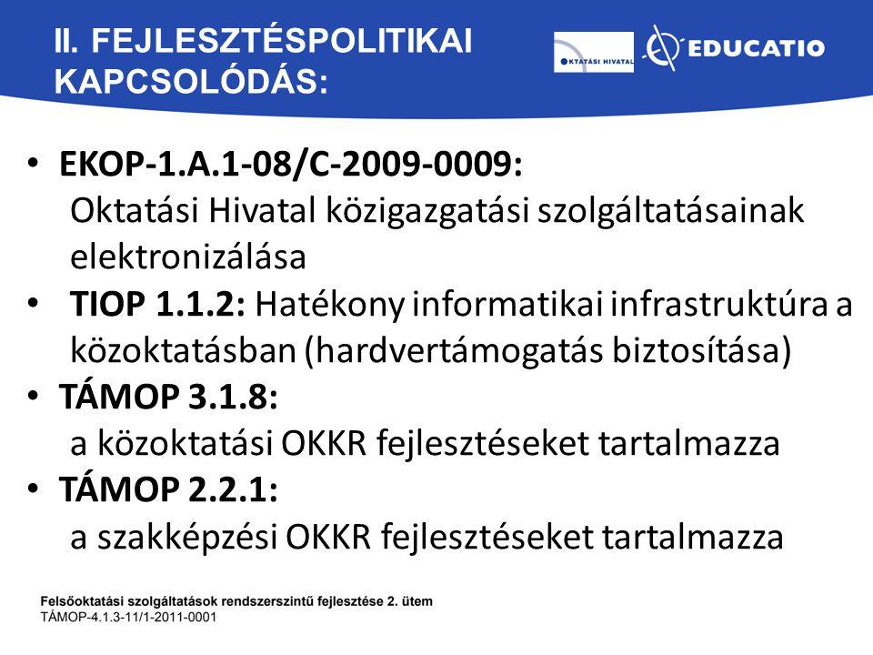 II. FEJLESZTÉSPOLITIKAI KAPCSOLÓDÁS: EKOP-1.A.1-08/C-2009-0009: Oktatási Hivatal közigazgatási szolgáltatásainak elektronizálása TIOP 1.1.2: Hatékony