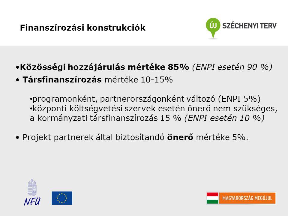 Finanszírozási konstrukciók Közösségi hozzájárulás mértéke 85% (ENPI esetén 90 %) Társfinanszírozás mértéke 10-15% programonként, partnerországonként változó (ENPI 5%) központi költségvetési szervek esetén önerő nem szükséges, a kormányzati társfinanszírozás 15 % (ENPI esetén 10 %) Projekt partnerek által biztosítandó önerő mértéke 5%.
