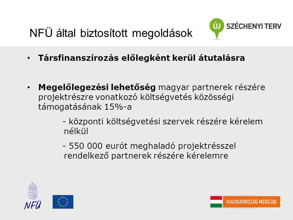 NFÜ által biztosított megoldások Társfinanszírozás előlegként kerül átutalásra Megelőlegezési lehetőség magyar partnerek részére projektrészre vonatkozó költségvetés közösségi támogatásának 15%-a - központi költségvetési szervek részére kérelem nélkül - 550 000 eurót meghaladó projektrésszel rendelkező partnerek részére kérelemre