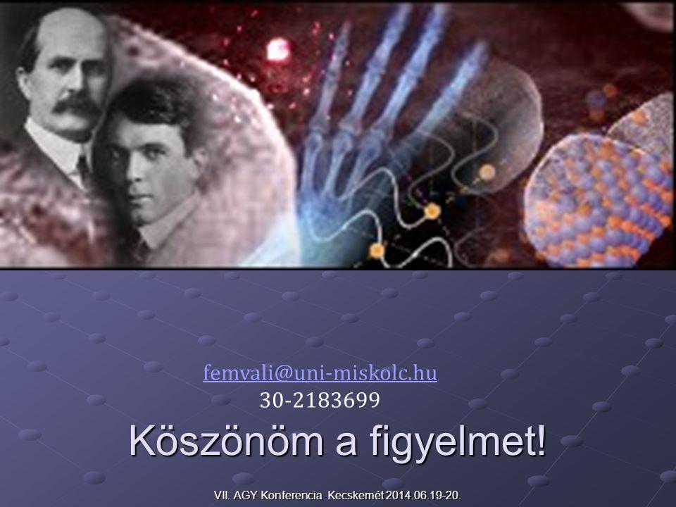 Köszönöm a figyelmet! VII. AGY Konferencia Kecskemét 2014.06.19-20. femvali@uni-miskolc.hu 30-2183699