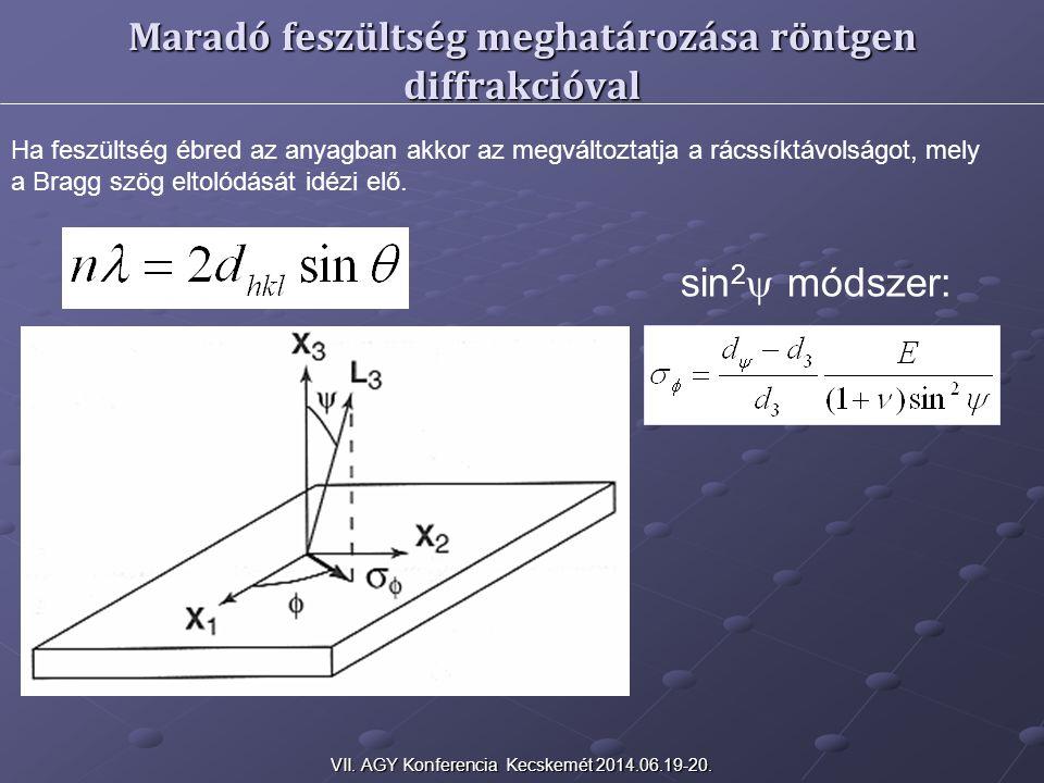 sin 2  módszer: Maradó feszültség meghatározása röntgen diffrakcióval Ha feszültség ébred az anyagban akkor az megváltoztatja a rácssíktávolságot, mely a Bragg szög eltolódását idézi elő.