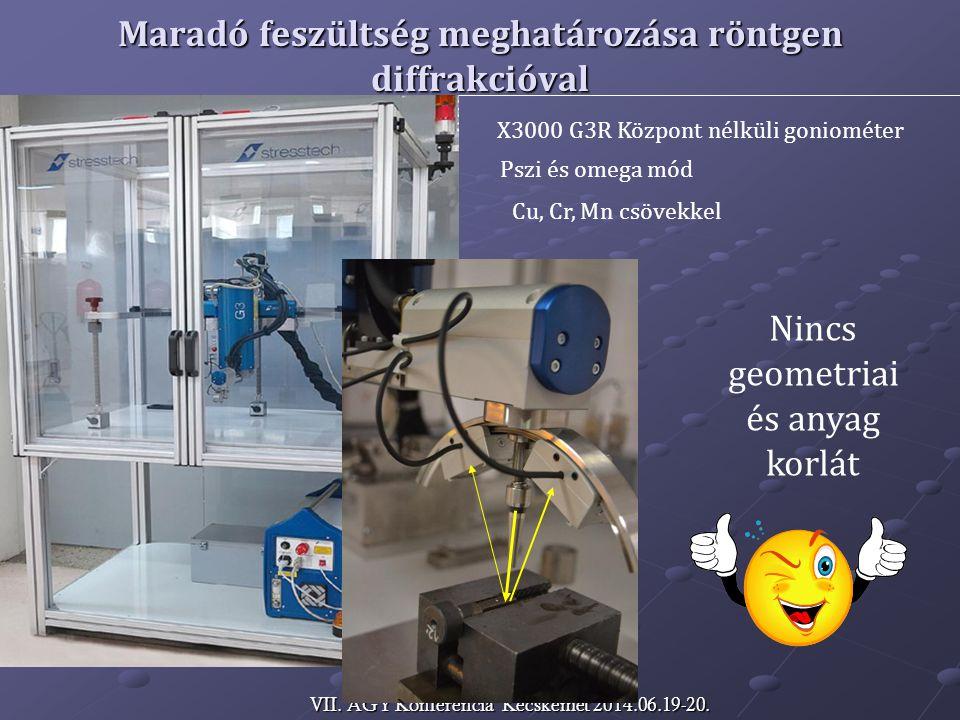 Maradó feszültség meghatározása röntgen diffrakcióval X3000 G3R Központ nélküli goniométer Pszi és omega mód Cu, Cr, Mn csövekkel Nincs geometriai és