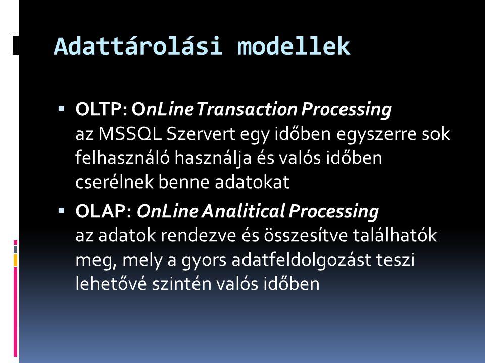 Adattárolási modellek  OLTP: OnLine Transaction Processing az MSSQL Szervert egy időben egyszerre sok felhasználó használja és valós időben cserélnek