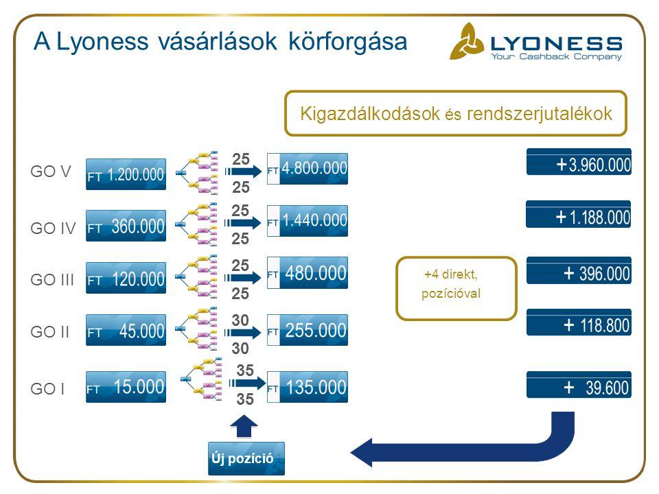 A Lyoness vásárlások körforgása Új pozíció Kigazdálkodások és rendszerjutalékok +4 direkt, pozícióval 35 30 25 GO I GO V GO IV GO III GO II 25