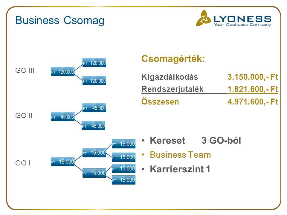 Business Csomag Csomagérték: Kigazdálkodás 3.150.000,- Ft Rendszerjutalék 1.821.600,- Ft Összesen 4.971.600,- Ft Kereset 3 GO-ból Business Team Karrierszint 1 GO I GO III GO II
