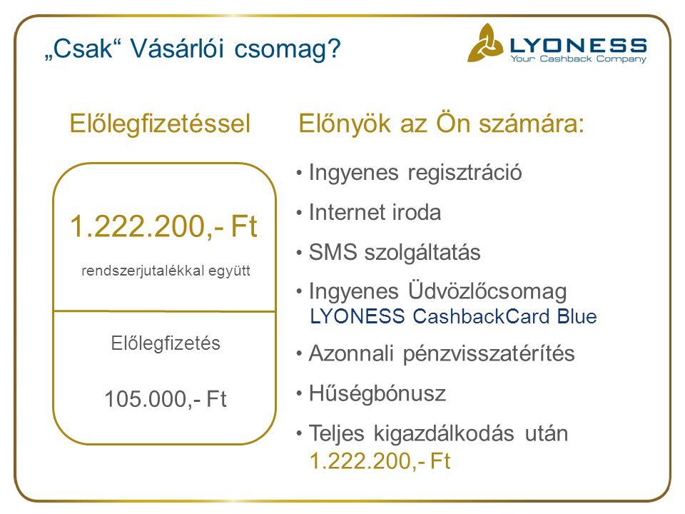 """ElőlegfizetésselElőnyök az Ön számára: 1.222.200,- Ft Előlegfizetés 105.000,- Ft rendszerjutalékkal együtt Ingyenes regisztráció Internet iroda SMS szolgáltatás Ingyenes Üdvözlőcsomag LYONESS CashbackCard Blue Azonnali pénzvisszatérítés Hűségbónusz Teljes kigazdálkodás után 1.222.200,- Ft """"Csak Vásárlói csomag?"""