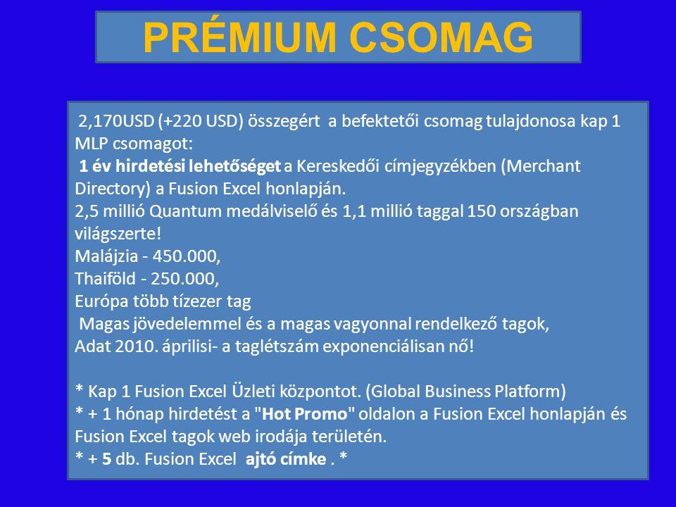 2,170USD (+220 USD) összegért a befektetői csomag tulajdonosa kap 1 MLP csomagot: 1 év hirdetési lehetőséget a Kereskedői címjegyzékben (Merchant Directory) a Fusion Excel honlapján.