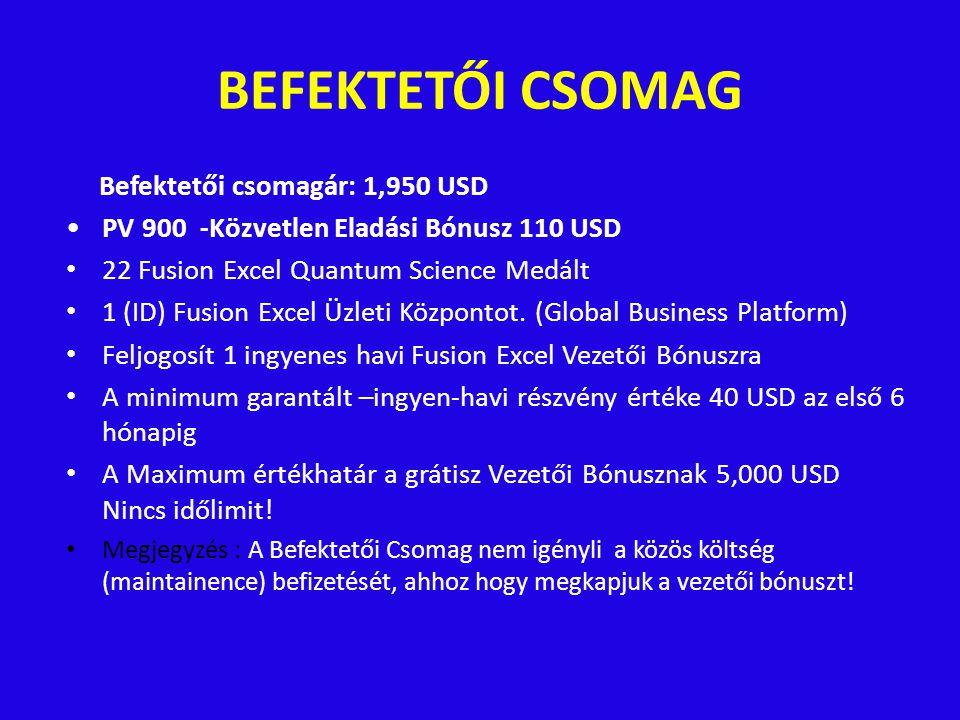 BEFEKTETŐI CSOMAG Befektetői csomagár: 1,950 USD PV 900 -Közvetlen Eladási Bónusz 110 USD 22 Fusion Excel Quantum Science Medált 1 (ID) Fusion Excel Üzleti Központot.