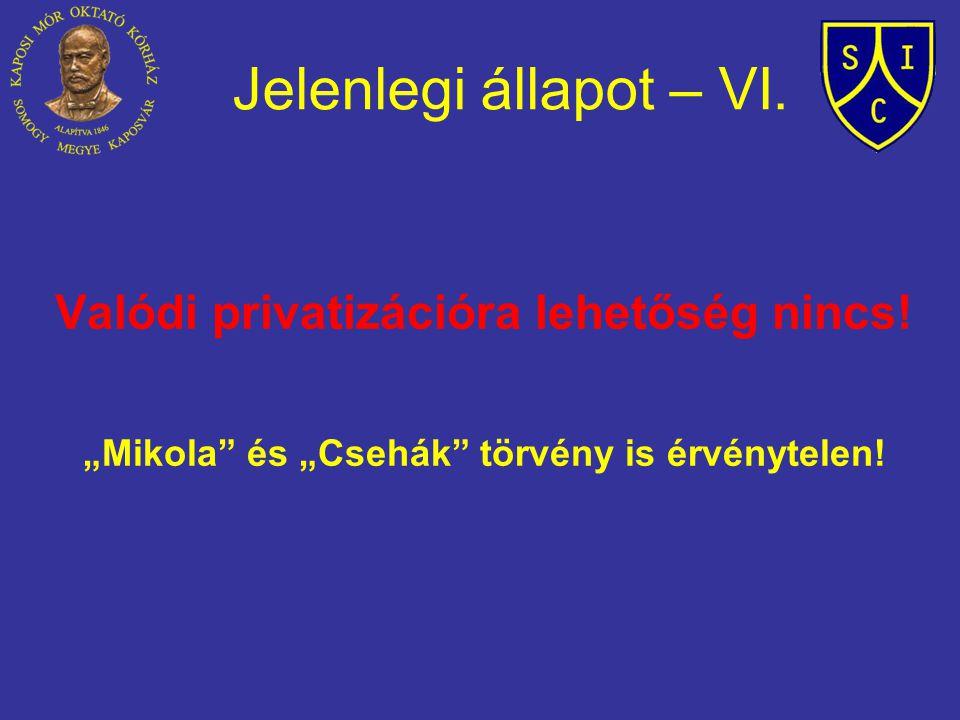"""Jelenlegi állapot – VI. Valódi privatizációra lehetőség nincs! """"Mikola"""" és """"Csehák"""" törvény is érvénytelen!"""