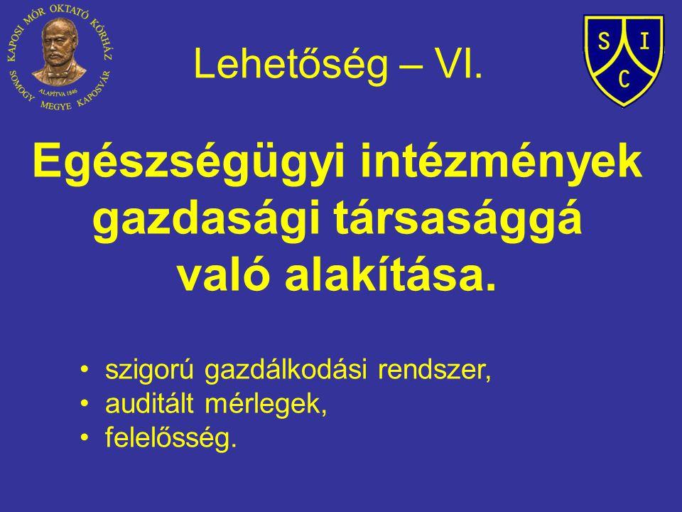 Lehetőség – VI. Egészségügyi intézmények gazdasági társasággá való alakítása. szigorú gazdálkodási rendszer, auditált mérlegek, felelősség.