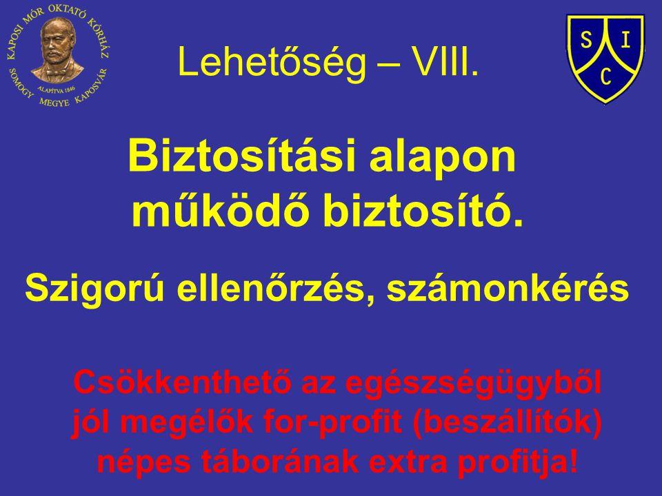 Lehetőség – VIII. Biztosítási alapon működő biztosító. Szigorú ellenőrzés, számonkérés Csökkenthető az egészségügyből jól megélők for-profit (beszállí