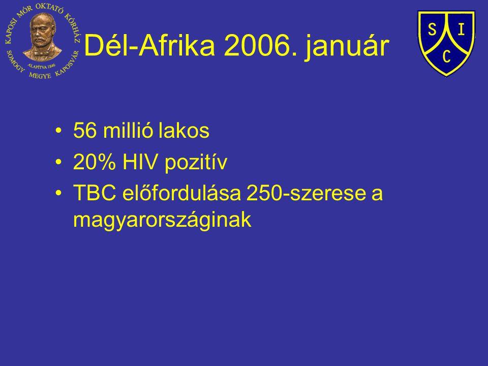 Dél-Afrika 2006. január 56 millió lakos 20% HIV pozitív TBC előfordulása 250-szerese a magyarországinak