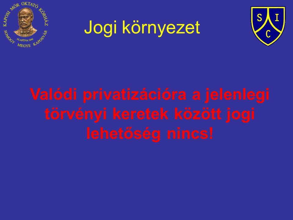 Jogi környezet Valódi privatizációra a jelenlegi törvényi keretek között jogi lehetőség nincs!