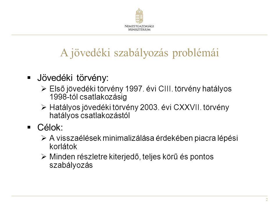 2 A jövedéki szabályozás problémái  Jövedéki törvény:  Első jövedéki törvény 1997. évi CIII. törvény hatályos 1998-tól csatlakozásig  Hatályos jöve