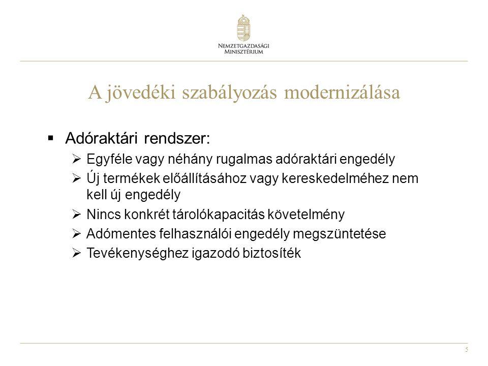 5 A jövedéki szabályozás modernizálása  Adóraktári rendszer:  Egyféle vagy néhány rugalmas adóraktári engedély  Új termékek előállításához vagy ker