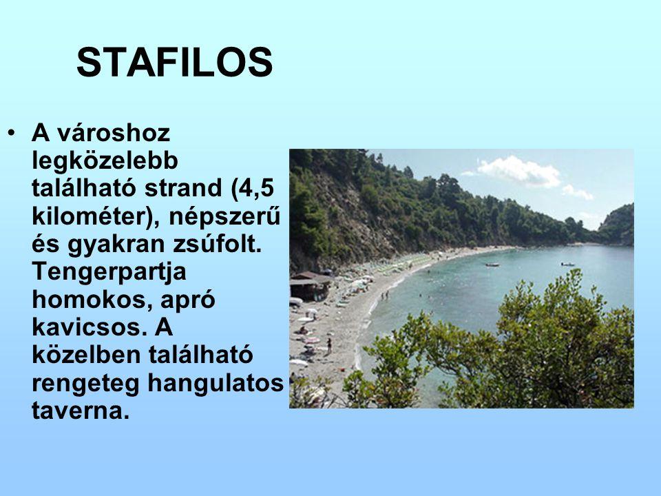 STAFILOS A városhoz legközelebb található strand (4,5 kilométer), népszerű és gyakran zsúfolt. Tengerpartja homokos, apró kavicsos. A közelben találha