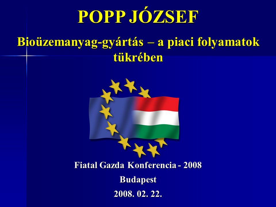Fiatal Gazda Konferencia - 2008 Budapest 2008. 02. 22. POPP JÓZSEF Bioüzemanyag-gyártás – a piaci folyamatok tükrében