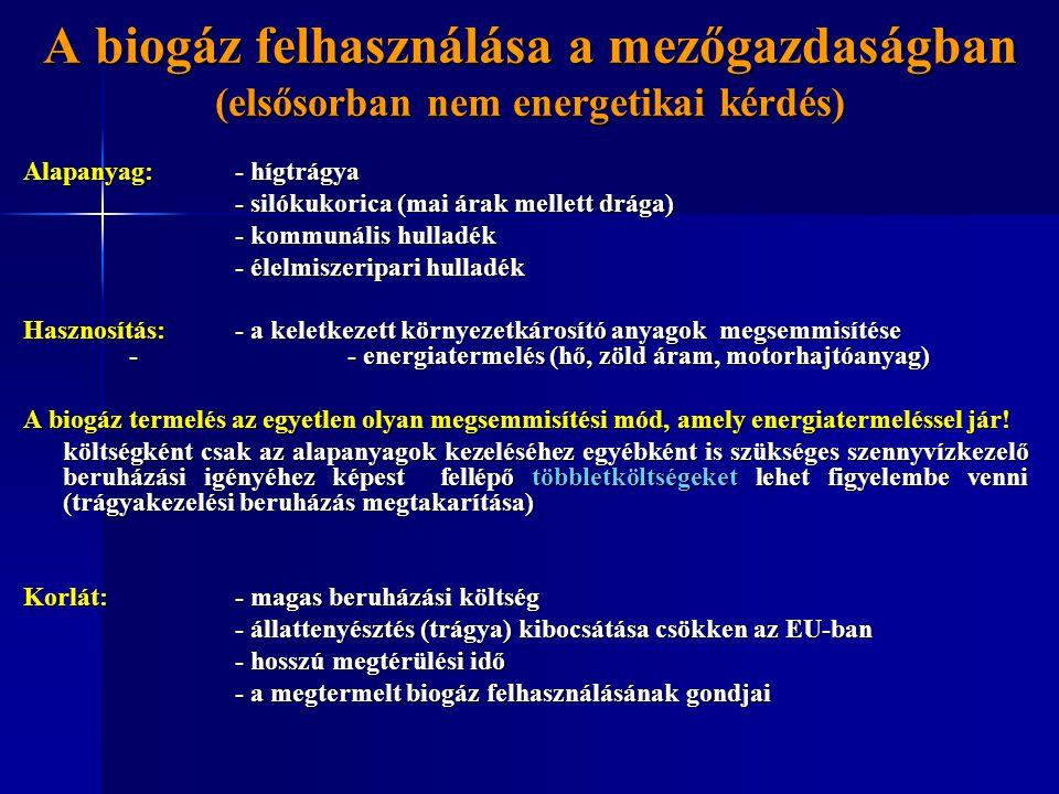 A biogáz felhasználása a mezőgazdaságban (elsősorban nem energetikai kérdés) Alapanyag: - hígtrágya - silókukorica (mai árak mellett drága) - silókuko