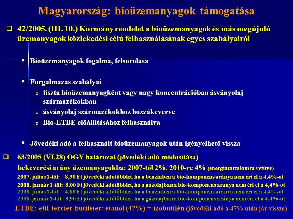  42/2005. (III. 10.) Kormány rendelet a bioüzemanyagok és más megújuló üzemanyagok közlekedési célú felhasználásának egyes szabályairól  Bioüzemanya