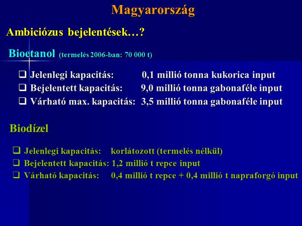 Magyarország Magyarország  Jelenlegi kapacitás: 0,1 millió tonna kukorica input  Bejelentett kapacitás: 9,0 millió tonna gabonaféle input  Várható