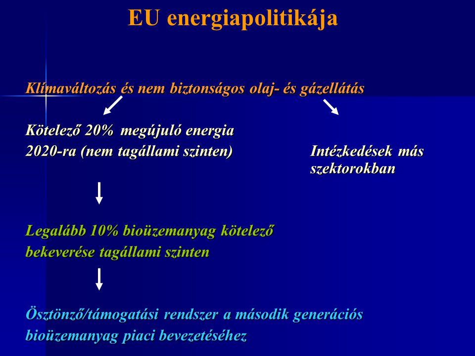 Klímaváltozás és nem biztonságos olaj- és gázellátás Kötelező 20%megújuló energia 2020-ra (nem tagállami szinten) Intézkedések más szektorokban Legalá
