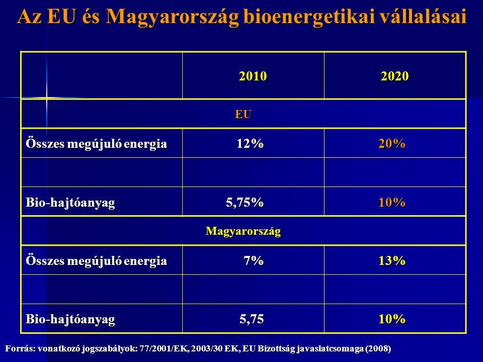 20102020 EU Összes megújuló energia 12%20% Bio-hajtóanyag5,75%10% Magyarország 7%13% Bio-hajtóanyag5,7510% Az EU és Magyarország bioenergetikai vállal