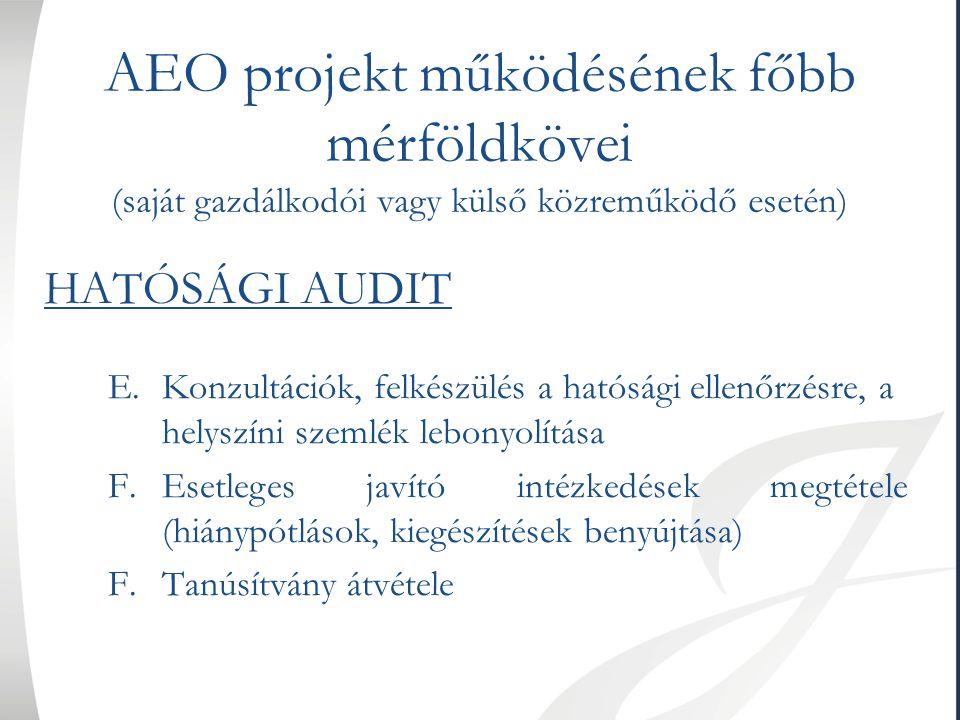 AEO projekt működésének főbb mérföldkövei (saját gazdálkodói vagy külső közreműködő esetén) HATÓSÁGI AUDIT E.Konzultációk, felkészülés a hatósági elle