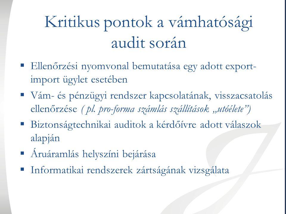 Kritikus pontok a vámhatósági audit során  Ellenőrzési nyomvonal bemutatása egy adott export- import ügylet esetében  Vám- és pénzügyi rendszer kapc