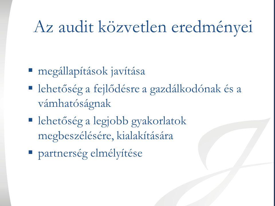 Az audit közvetlen eredményei  megállapítások javítása  lehetőség a fejlődésre a gazdálkodónak és a vámhatóságnak  lehetőség a legjobb gyakorlatok