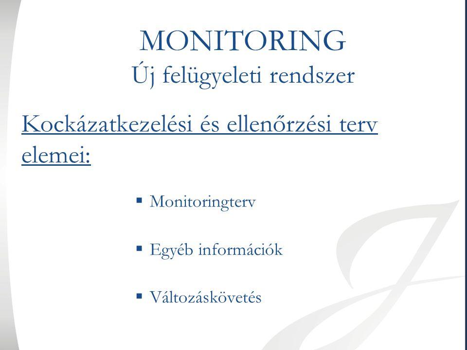 MONITORING Új felügyeleti rendszer Kockázatkezelési és ellenőrzési terv elemei:  Monitoringterv  Egyéb információk  Változáskövetés